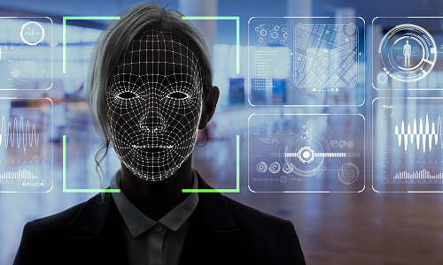 Woman face in shadow using facial recognition technology